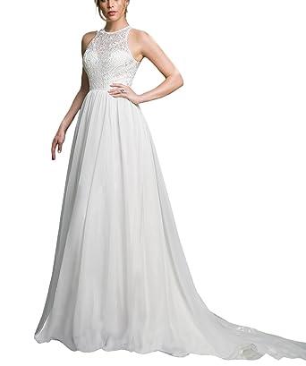 30010e2dbd Doramei Women s A-Line Chiffon Lace Wedding Gown Halter Neckline Chapel  Train Wedding Dress for