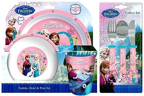 Disney Frozen Set para comensal de 6 piezas, incluye vaso, bol, plato, cuchillo, tenedor y cuchara
