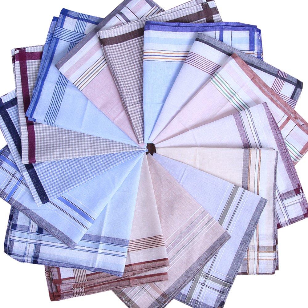 BoosKey 100% Cotton Handkerchiefs Hankies Classic for Men Women Unisex Large Soft - 6 12 24pcs