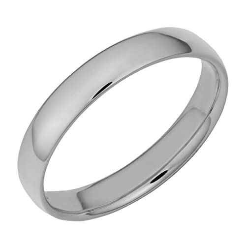 Amazon.com: 14 K oro blanco 4 mm Comfort Fit Hollow Boda ...