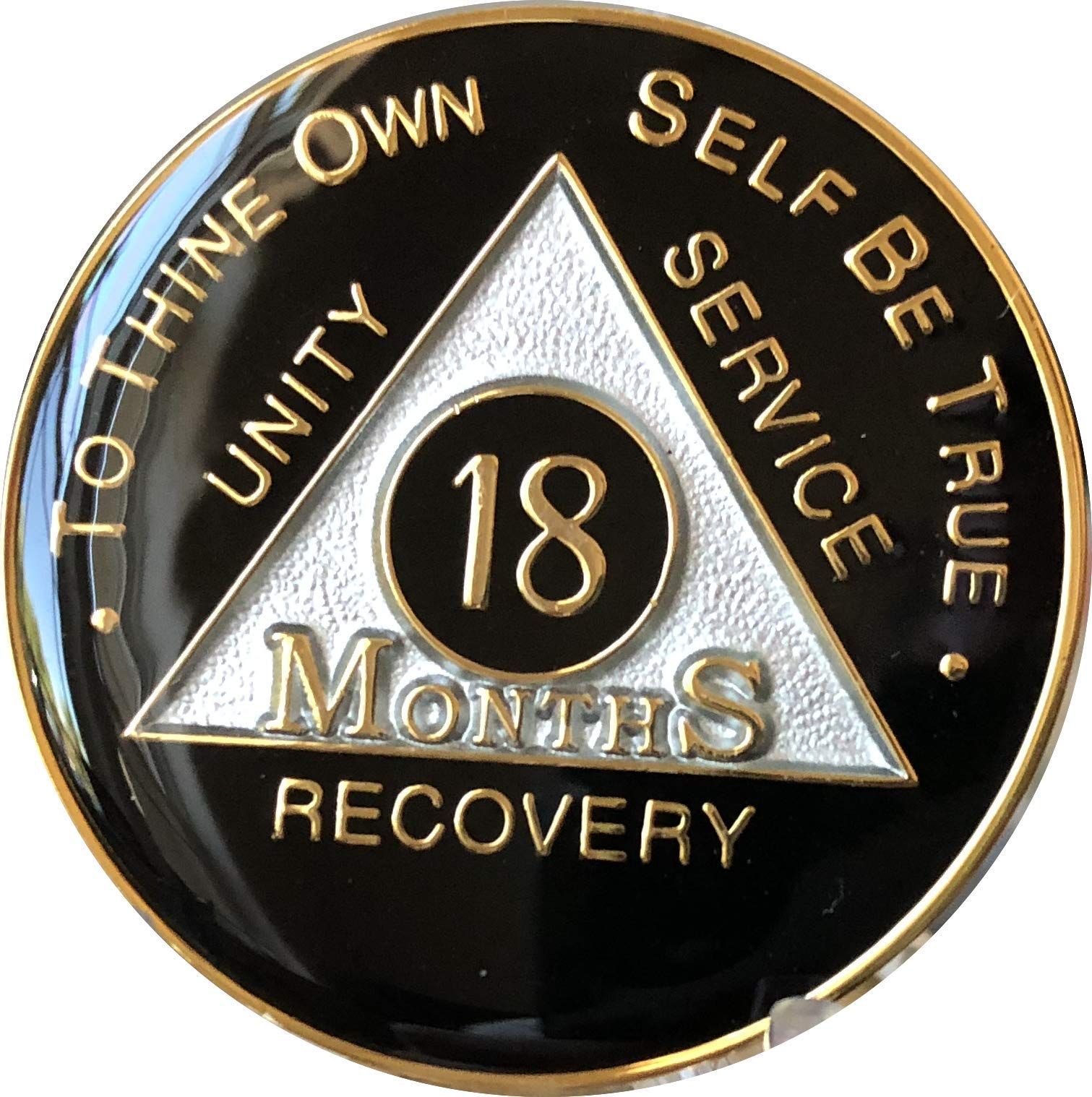 18 Month AA Medallion Black Tri-Plate Chip Glass Like Epoxy Dome