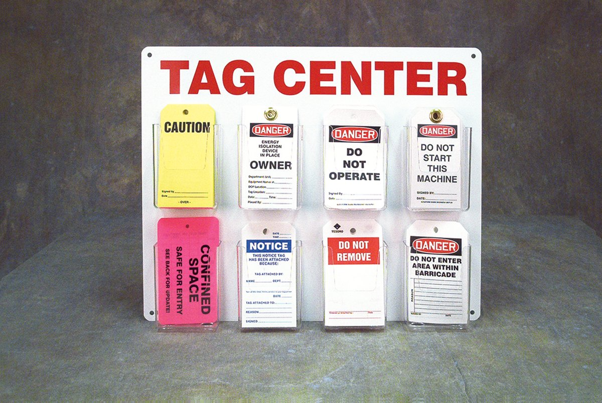Accuform TAC800 Accuform Tag CENTER Board, clear Plastic pockets (4.75'' Length x 3.625'' Width x 2'' Depth) Attached to Aluminum Back (16'' Length x 20'' Width), Red On White