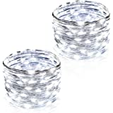 CrazyFire 2 Set Cool White String Light, 100 LEDs Wire Rope Light,33ft Indoor/Outdoor Christmas Decorative Lights String For Christmas Wedding Bedroom Patio Decoration Fairy Firefly Light