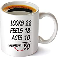 50th Birthday Gifts for Women and Men Coffee Mug, Funny Vintage Golden Anniversary Gift Ideas for Him, Her, Husband or Wife.