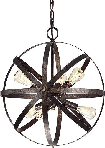 Edvivi 6-Light Style Antique Copper Pendant Orb Globe Chandelier Modern Farmhouse Lighting