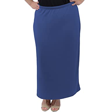 157237be36 Stretch is Comfort Women's Plus Size Long Tube Skirt - Blue ...