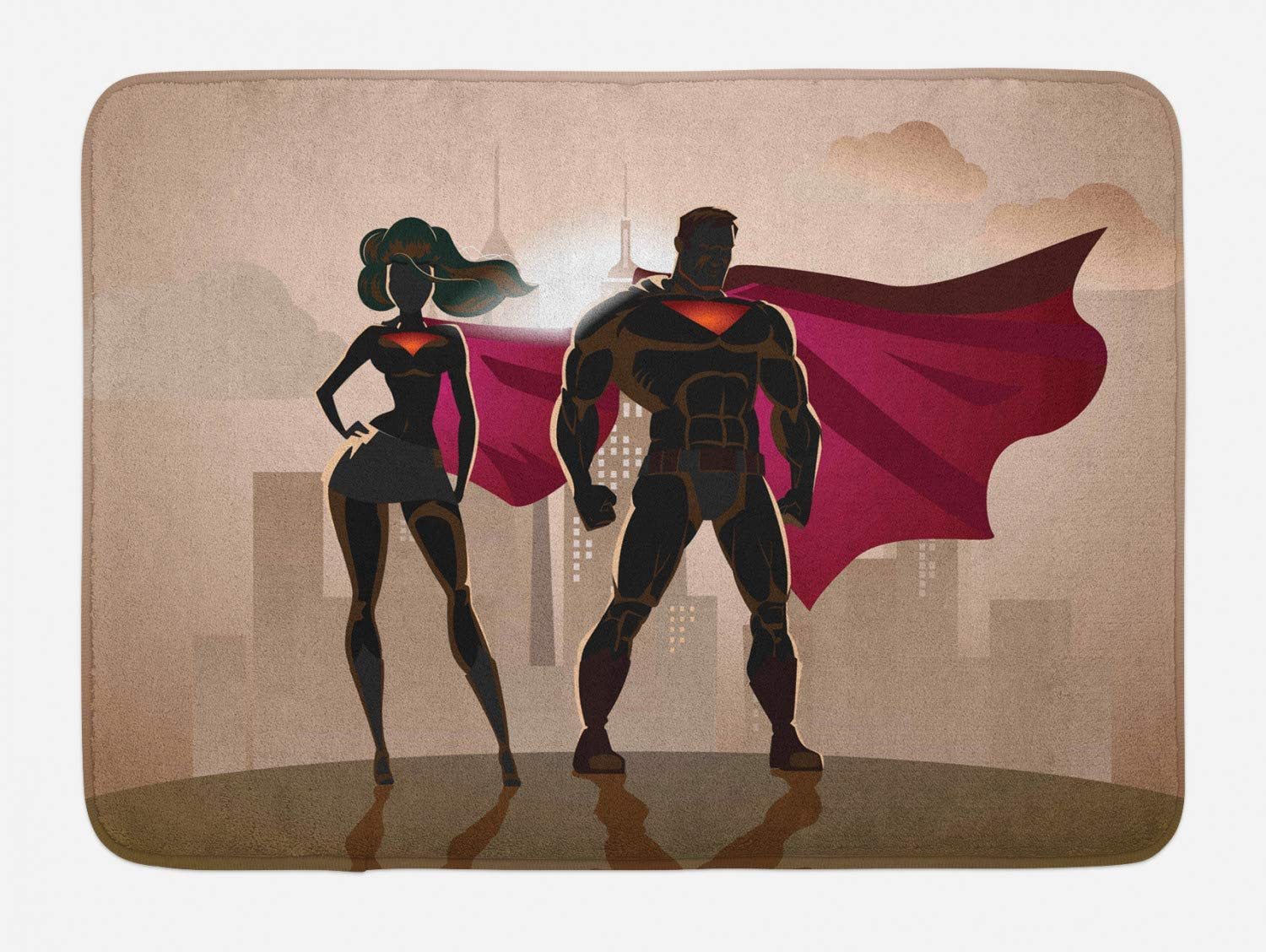 Ambesonne Superhero Bath Mat, Super Woman and Man Heroes in City Solving Crime Hot Couple in Costume, Plush Bathroom Decor Mat with Non Slip Backing, 29.5