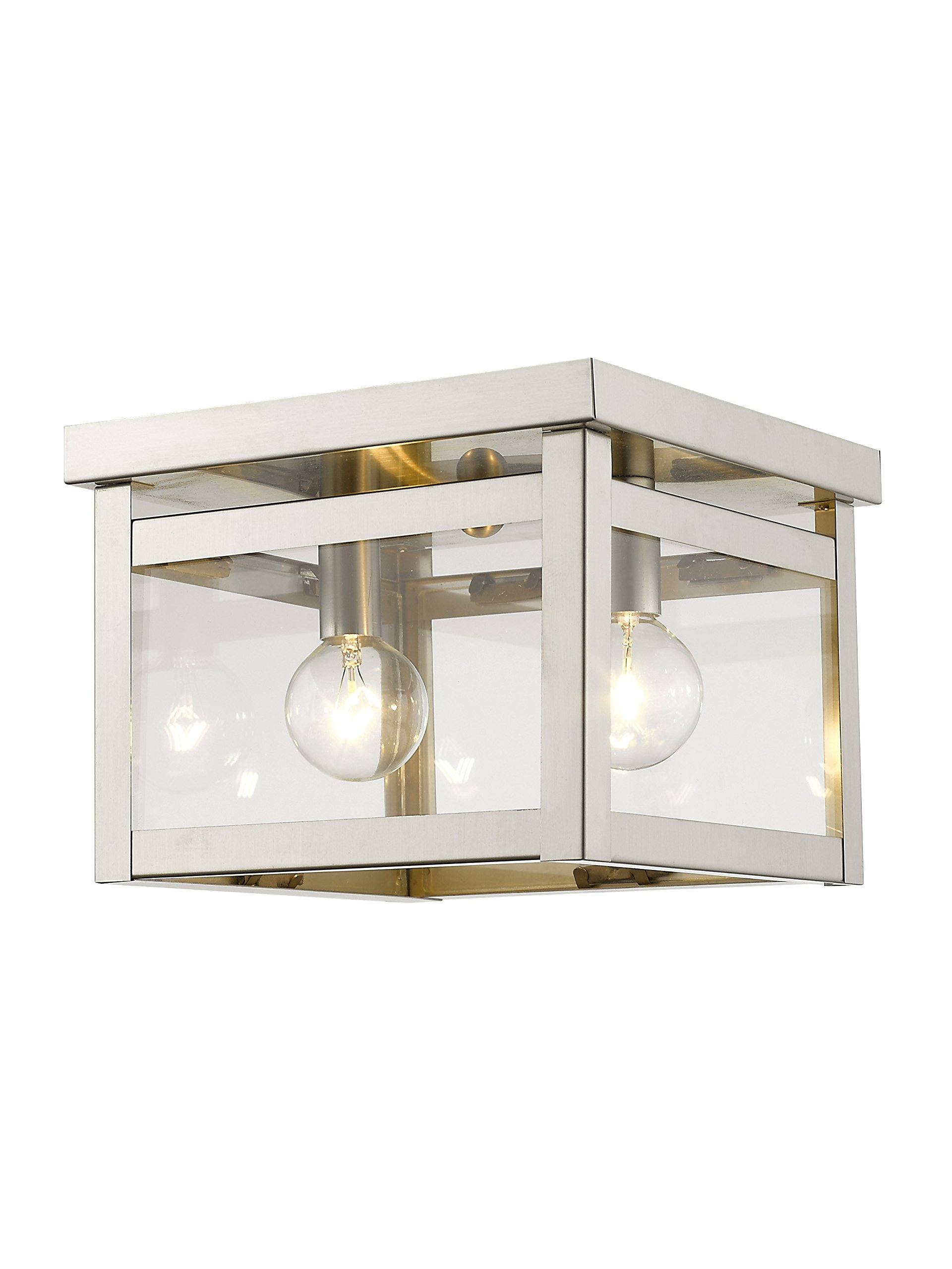 Livex Lighting 4031-91 Milford 2-Light Ceiling Mount, Brushed Nickel