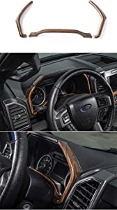 Car Interior Dashboard Instrument Panel Decoration Ring Cover Trim for Ford F150 2015 2016 2017 2018 (Wood Grain)
