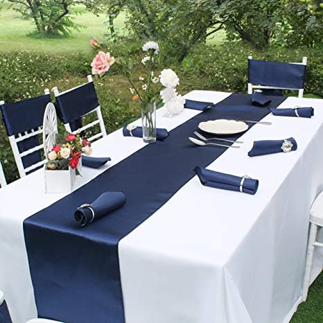 Amazon Com Papwoo Navy Table Runner Luxury Satin Table