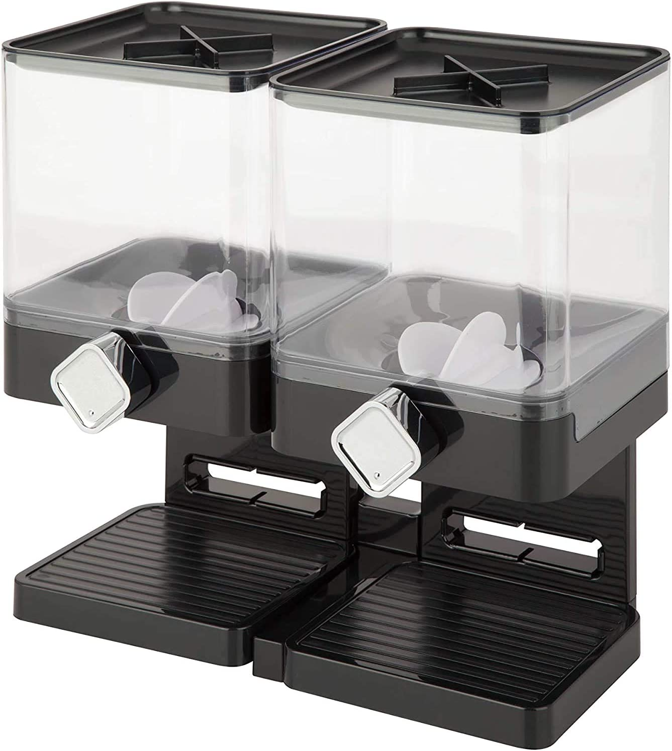 Dual Dispenser Dry Food Dispenser Cereal Dispenser Double Food Storage Container Square Chamber Dual Control Household Kitchen Storage Bottles (Black-Dual)
