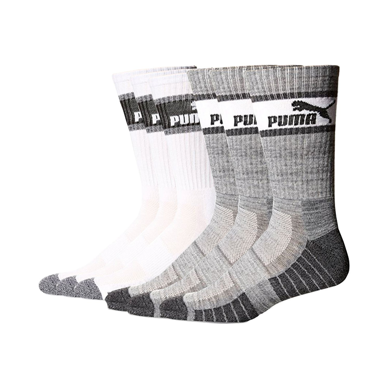 Mens 6 Pair Puma Crew Socks Gray-White