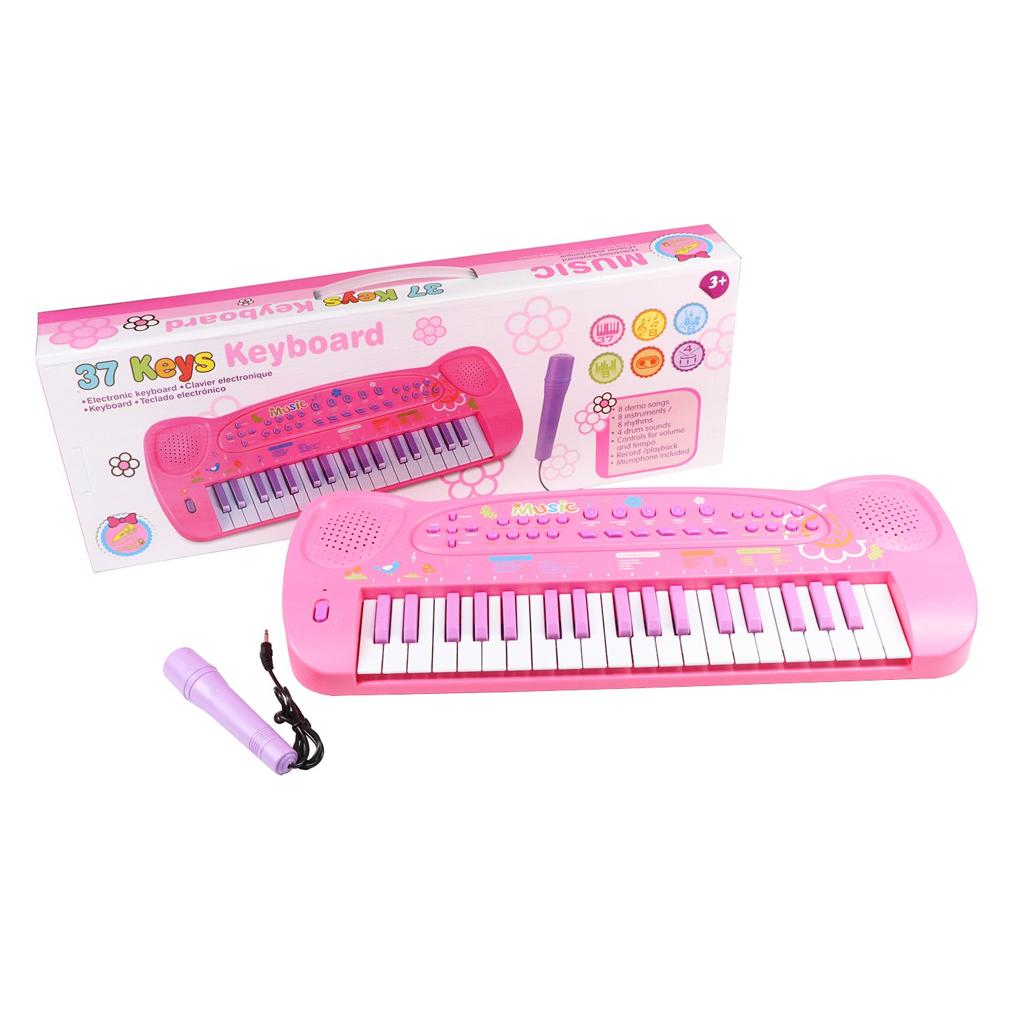 ... Keyboard for Kids Multifunction Portable Piano Electronic Keyboard Music Instrument for Kids Early Learning Educational Toy (Pink): Musical Instruments