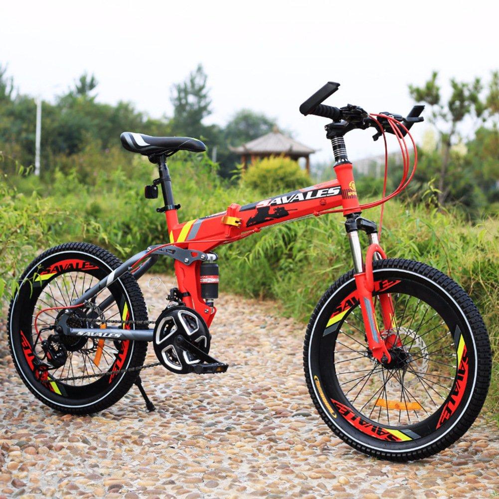 子供用折りたたみ自転車, 学生折りたたみ自転車 軽量 マウンテン バイク ショックアブソーバー 21 速度 折りたたみ自転車 B07DKBPNT3赤 20inch
