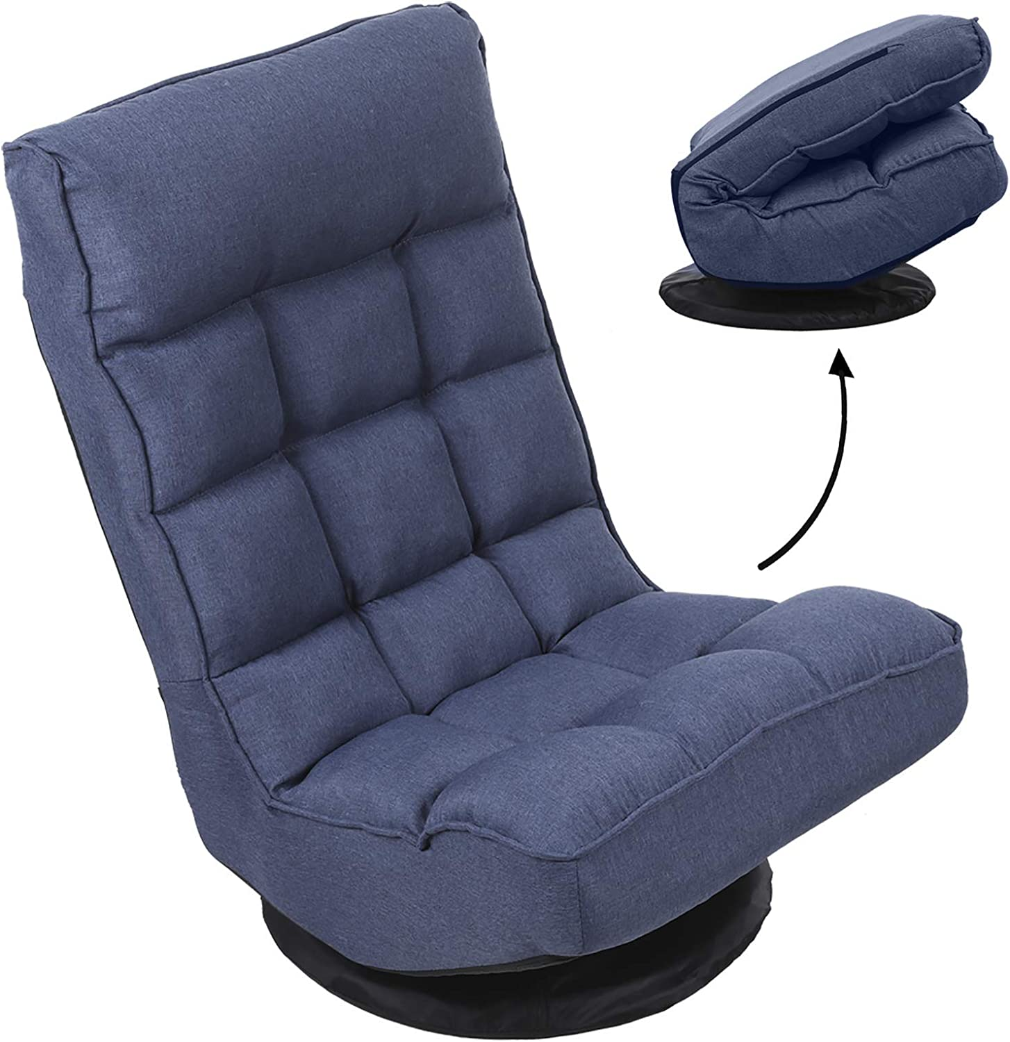 FLOGUOR 360-Degree Swivel Foldable Floor Gaming Chair with 6-Position Comfortable Lazy Leisure Sofa Lounge Chair for Reading Gaming TV Watching Factory Price (Blue) 6250DB
