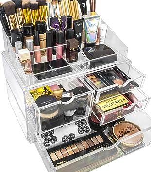 Sorbus Acrylic Cosmetics Makeup And Jewelry Storage Case X Large Display  Sets  Interlocking Scoop