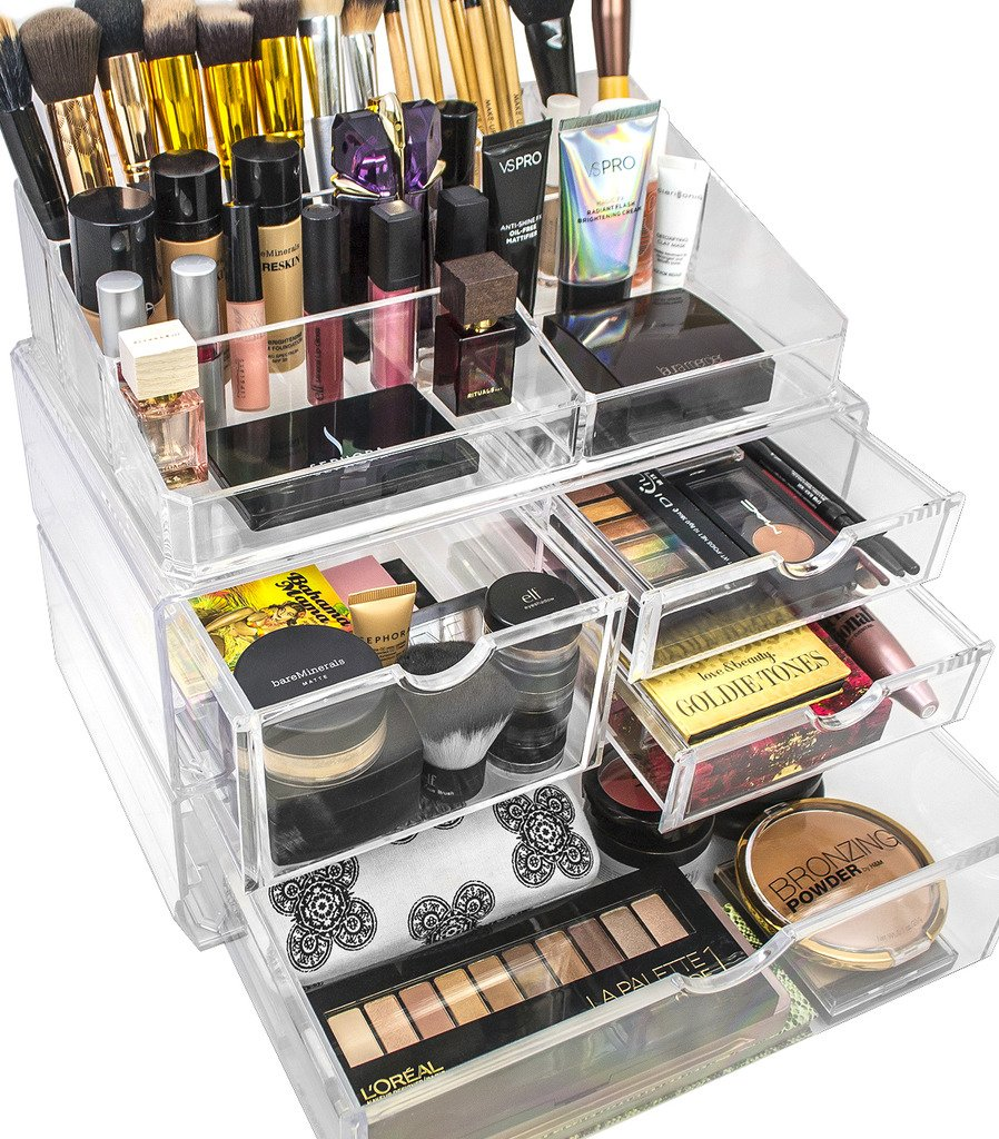 Sorbus Acrylic Cosmetics Makeup and Jewelry Storage Case X-Large Display Sets -Interlocking Scoop Drawers to Create Your Own Specially Designed Makeup Counter - Stackable and Interchangeable (Clear)