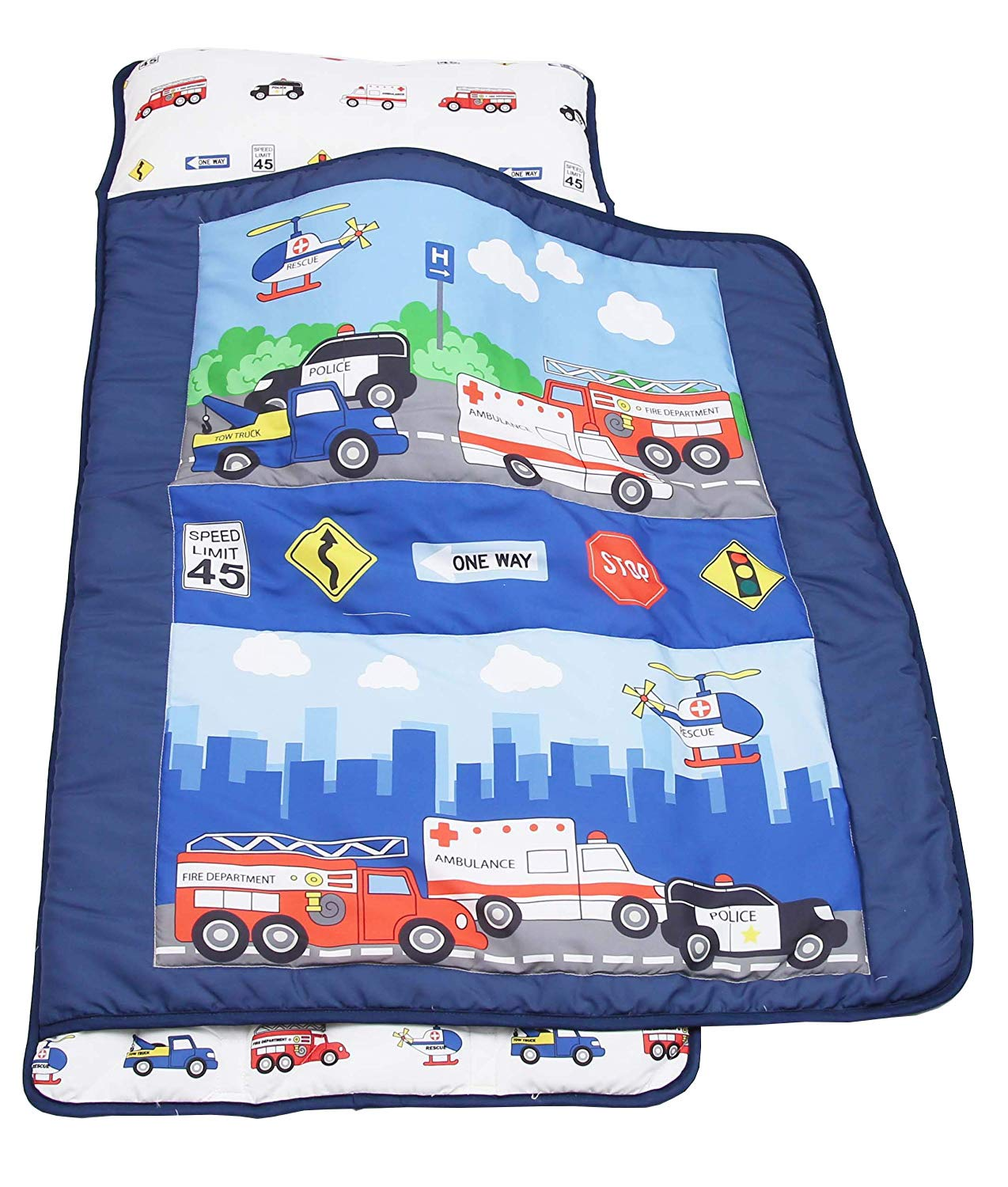Everyday Kids Toddler Nap Mat with Removable Pillow -Fire Police Rescue- Carry Handle with Velcro Strap Closure, Rollup Design, Soft Microfiber for Preschool, Daycare, Kindergarten Sleeping Bag