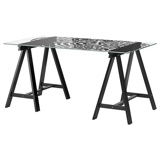 Mesa de cristal con diseño de huella dactilar en color negro, de ...
