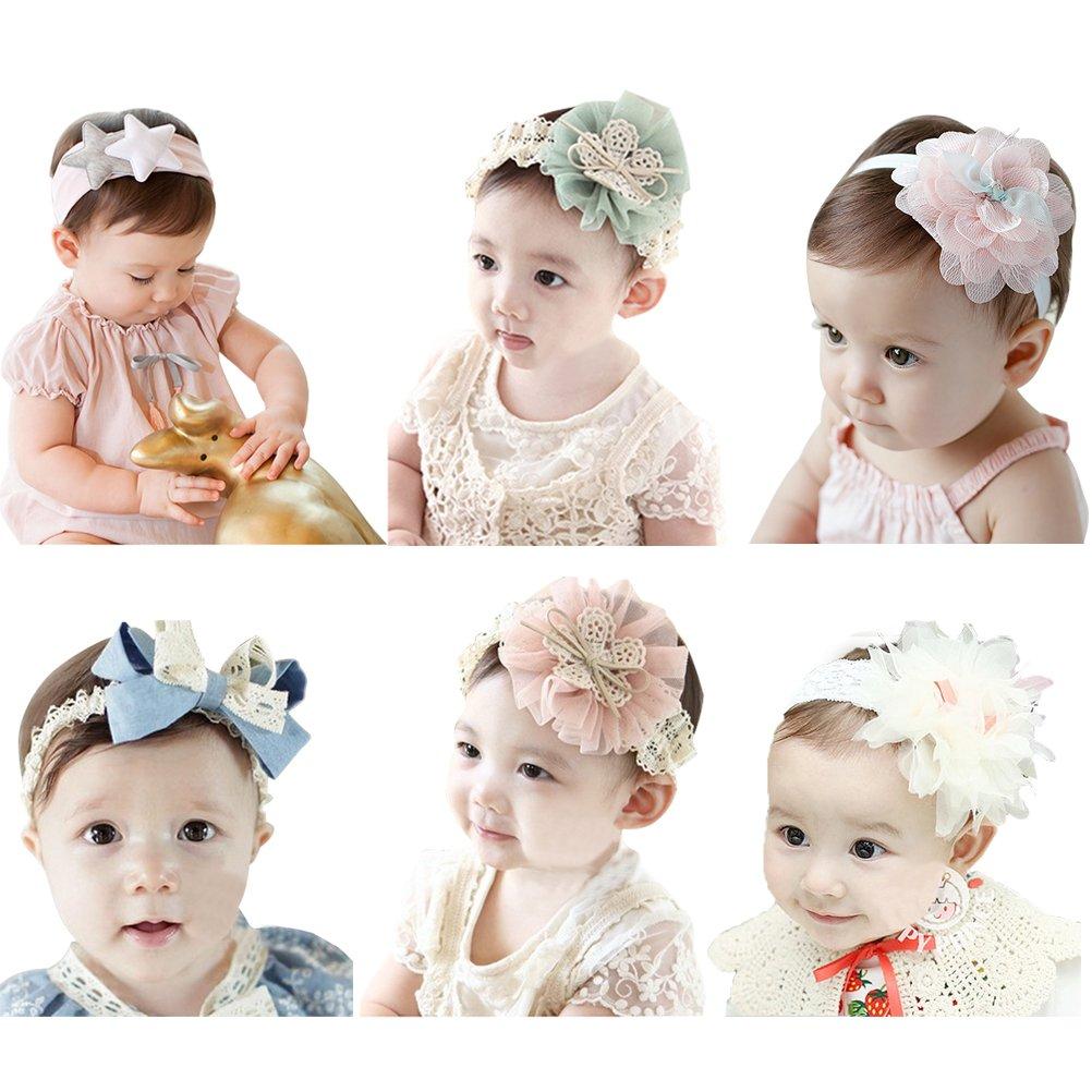 HBF Lot de 6 Pièces Elastique Bandeau Bébé Elastique Bandeau Cheveux pour Enfant … (Petite Lace)
