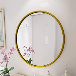 PROHOMEWARE Gold Round Bathroom Decorative Mirrors - Circle 30X30 Metal Frame Double Modern Vanity Beveled Bedroom Mirror Circular Farmhouse Rustic Vintage Above Couch Entryway Wall Silver Mirror