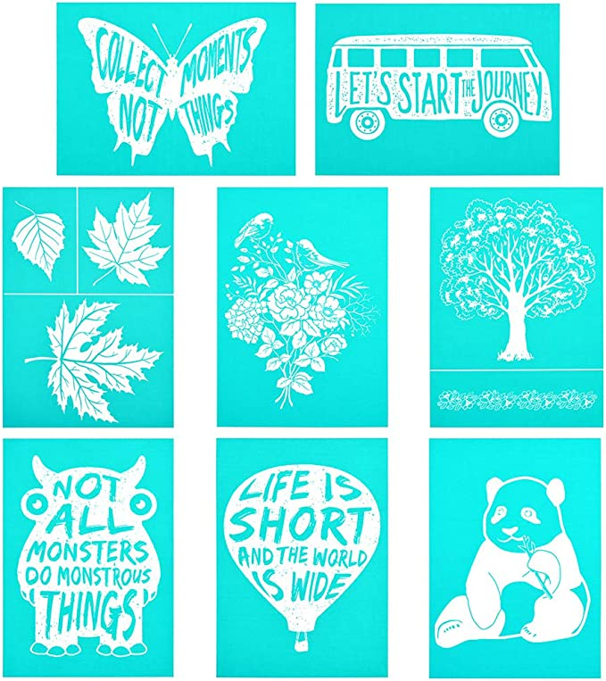 Home Decor Layering Stencils for Painting DIY Scrapbooking Washable Adhesive Silkscreen Chalk Couture 5X7 Inch Paints Transfer