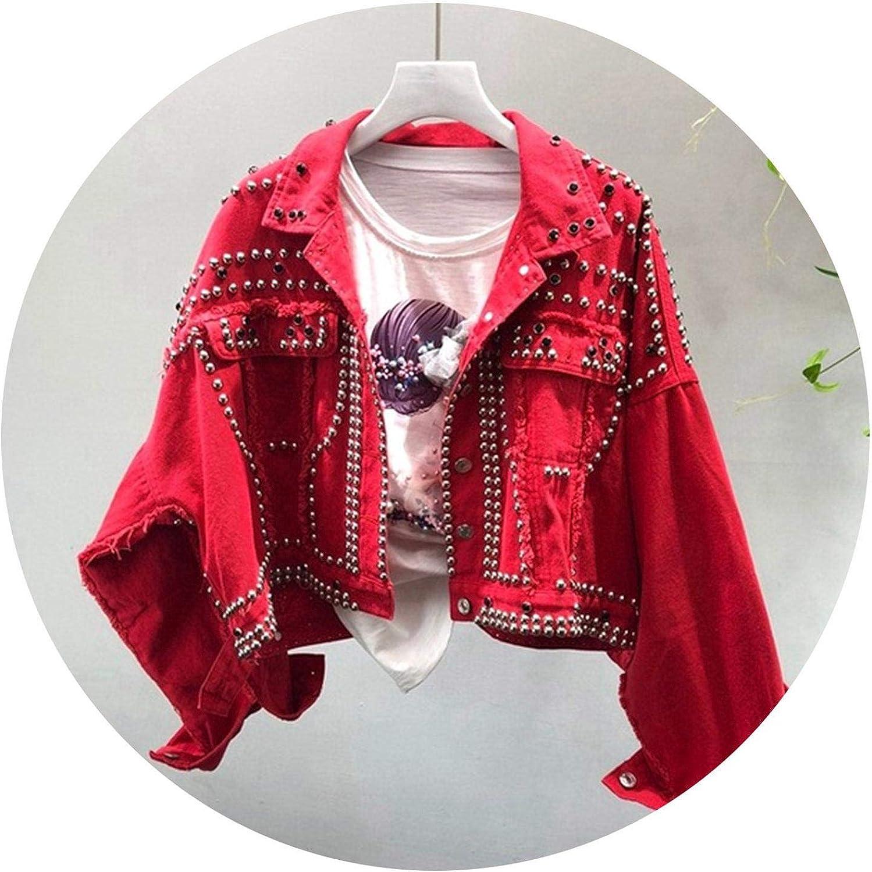 Spring Autumn Women\'s Harajuku Red Denim Jacket Coat Hand Beaded Rivet Short Black Jean Jackets Students Basic Coats Outfit Red