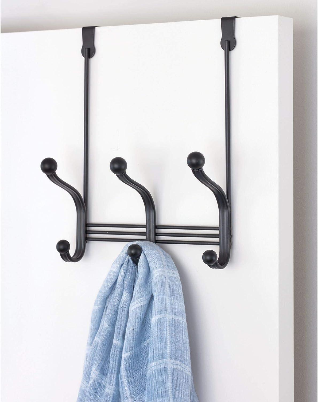 Hats Towels Robes 3-Hook Rack for Coats Closet Bedroom iDesign York Metal Over the Door Organizer 5.5 x 8 x 11 Matte Black and Bathroom