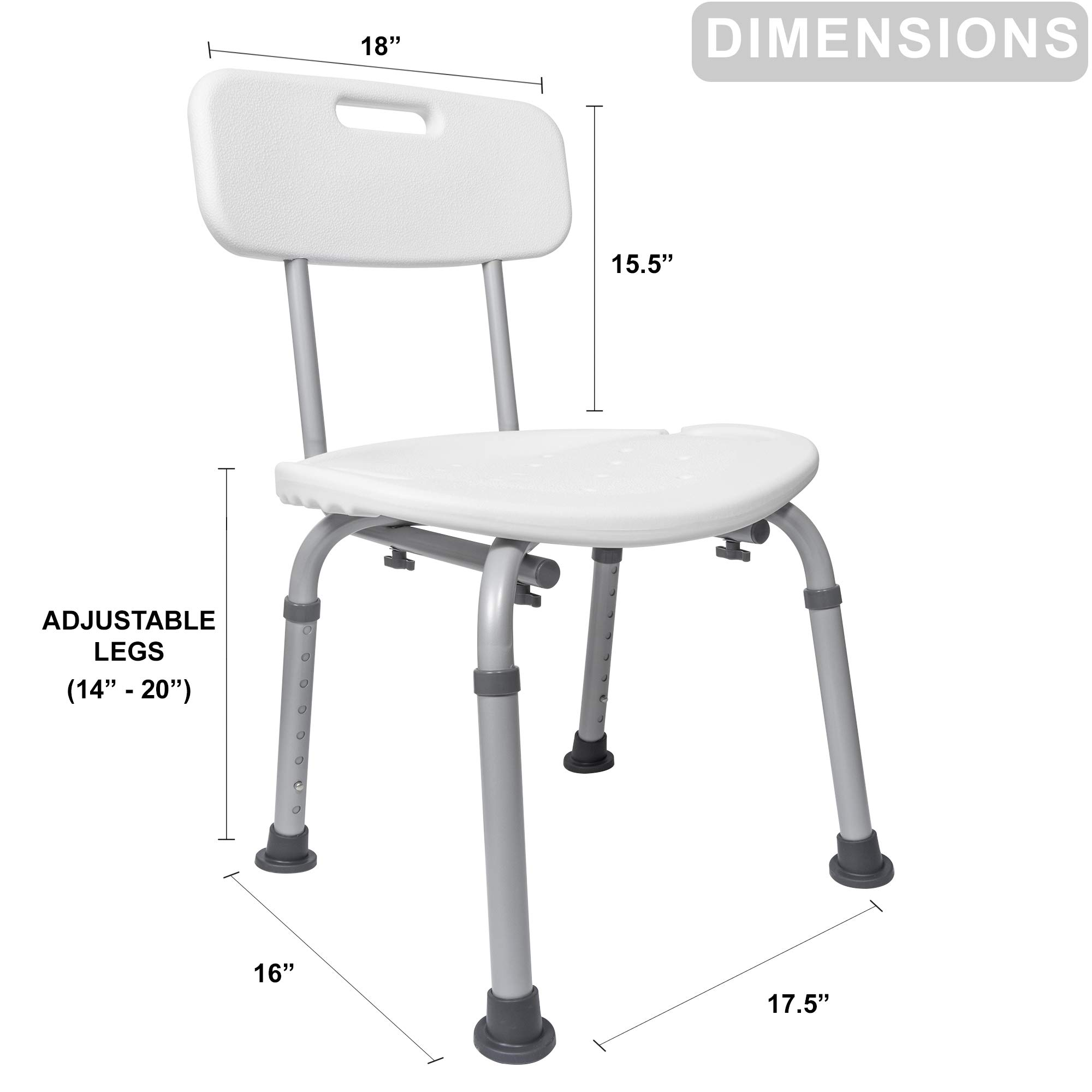 Medical Tool-Free Assembly Spa Bathtub Adjustable Carex Shower Chair Seat Bench with Removable Back by Vaunn (Image #6)