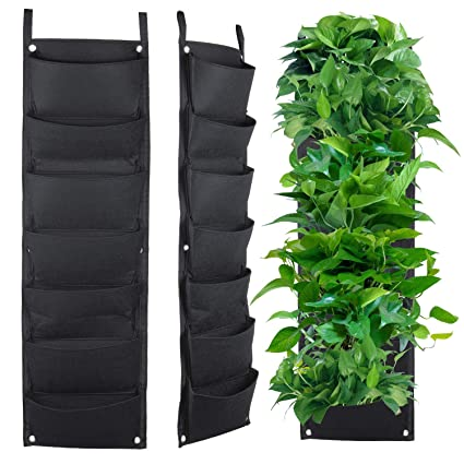 meiwo 7 pocket hanging vertical garden wall planter for yard garden home decoration - Wall Garden