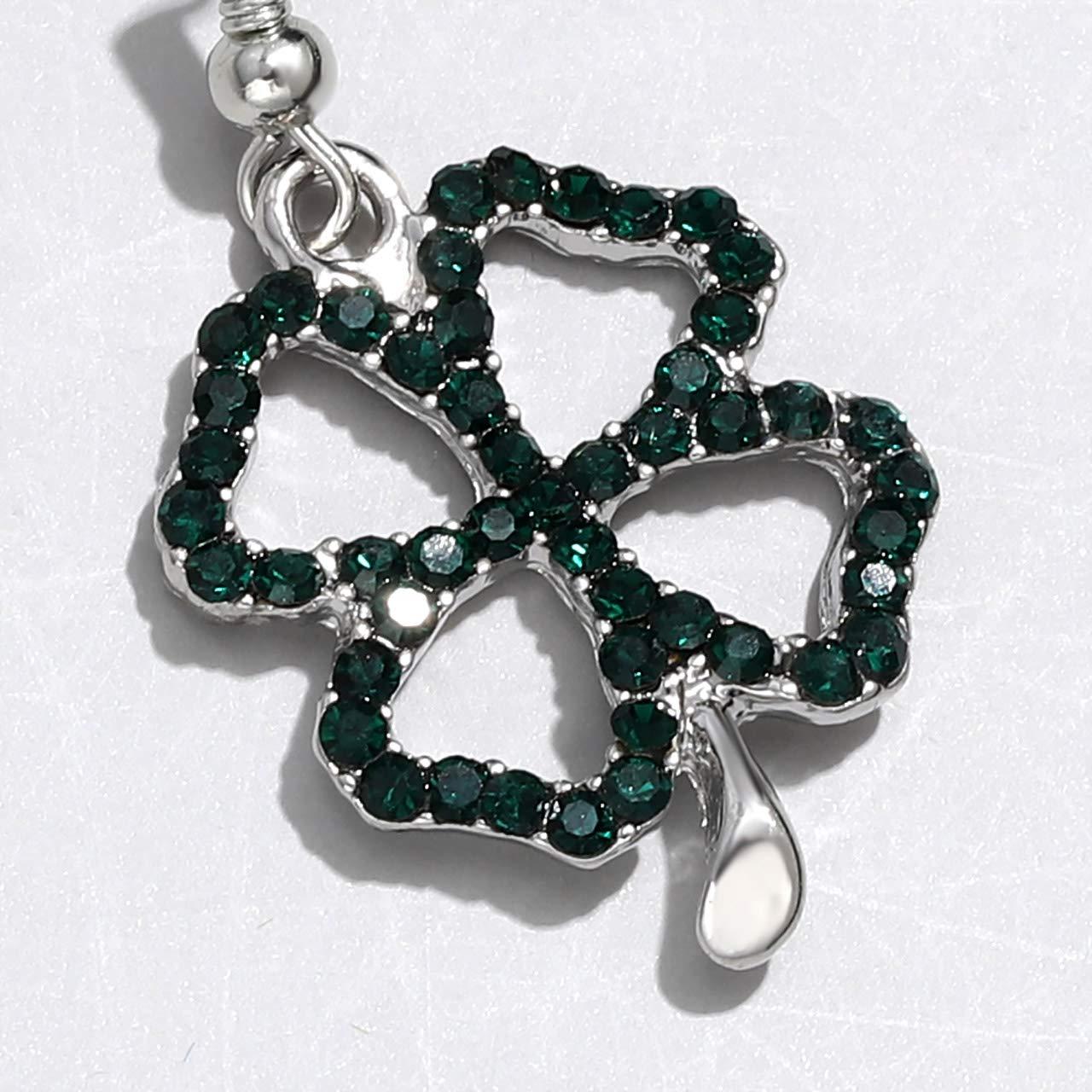 CEALXHENY St Patricks Earrings Green Earrings for Women Crystal Leaf Drop Dangle Earring Set Gift for Girls