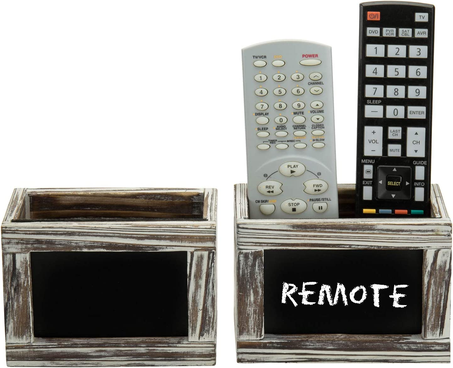 MyGift Rustic Torched Wood Remote Control Holder Wall Mounted Organizer Racks with Chalkboard Surfaces, Set of 2
