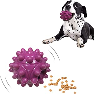LIDLOK Puppy Teething Chew Toys Natural Rubber Dog Ball Toy Food Treat Feeder Toy Dispensing Dog Toys Tough Indestructible Dog Chew Toy for Small Medium Dogs Puppies