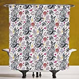 Unique Shower Curtain 3.0 [Egyptian,Traditional Tattoo Pattern with Gothic Magic Icons Witchcraft Symbols Kitty Hands,Multicolor] Fabric Bathroom Decor Set with Hooks