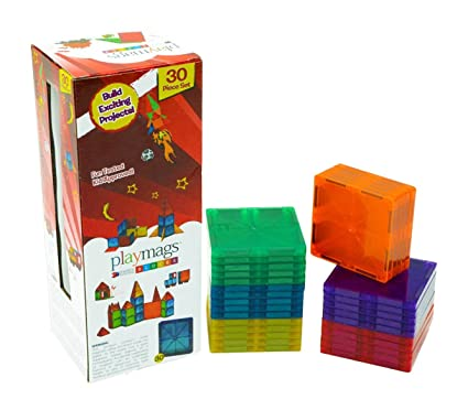 Playmags Clear Colors Magnetic Tiles Building Set 30 Piece Square Tile Set