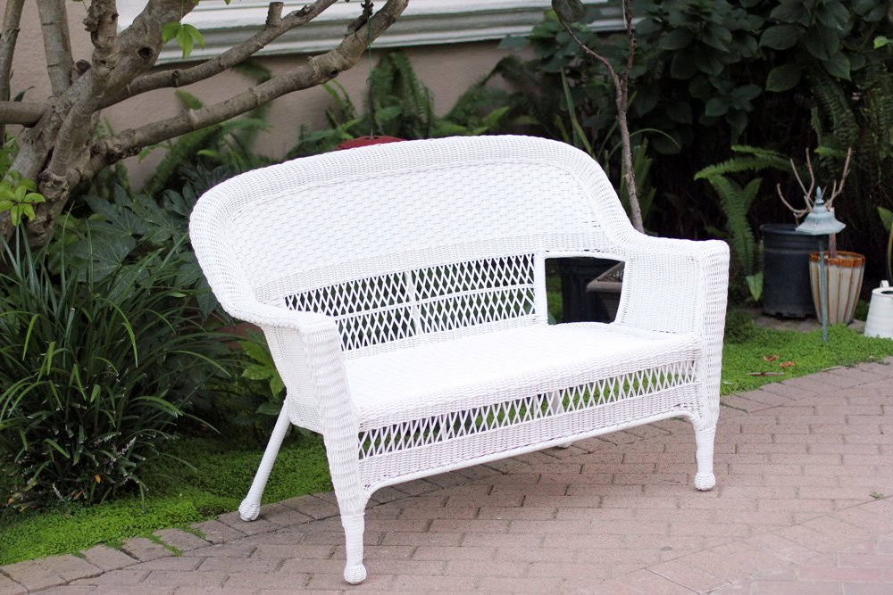 Amazoncom White Wicker Patio Love Seat Patio Lounge Chairs