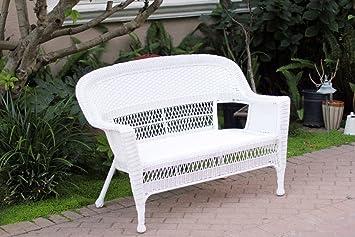 White Wicker Patio Love Seat
