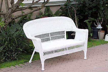 White Wicker Patio Love Seat - Amazon.com : White Wicker Patio Love Seat : Patio Lounge Chairs