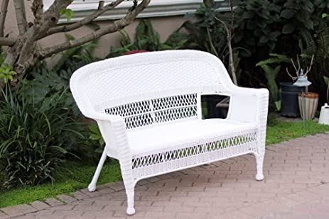 white wicker patio love seat