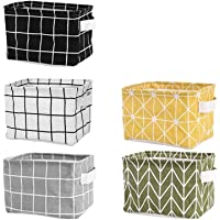 Tamicy Mini Storage Basket(Pack of 5)- Blend Storage Bins for Makeup, Book, Baby Toy,8x6x5.5 inch Home Decor Canvas…
