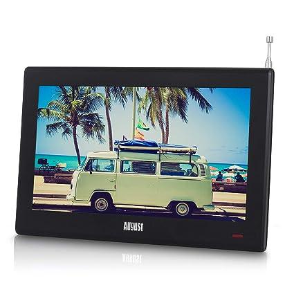 "August DA100D – 10"" Tragbarer HD TV DVB-T2 MPEG4 H.264/H.265/HEVC – LCD  Fernseher mit PVR & Multimedia Player – Digital & Analog TV für ..."