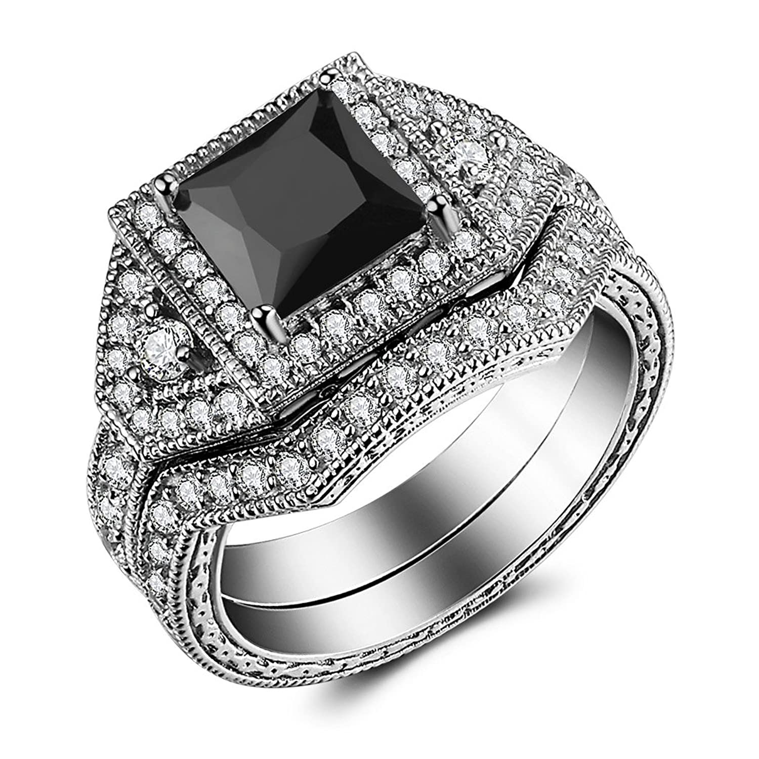 Amazon Caperci 2 0ct Princess Cut Black CZ Diamond Engagement