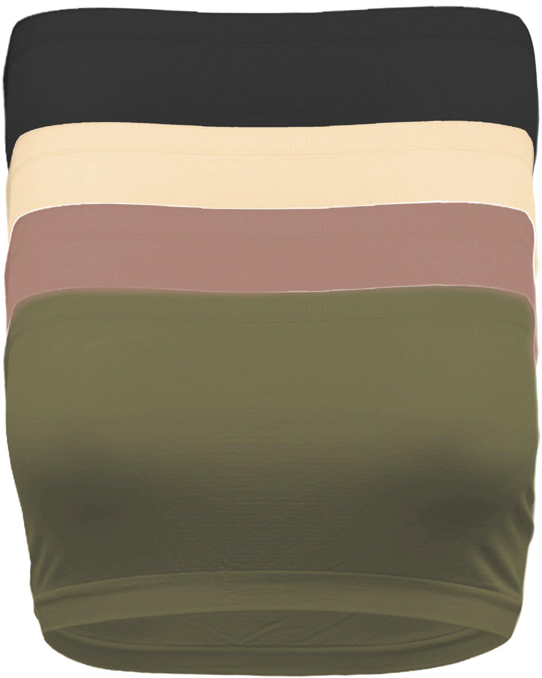 Ollie Arnes Curvy Women's Plus Size Non Padded Stretchy Soft Tube Top Bandeu Bra PLUSSIZE BK_Nude_OLV_MVE-Plus
