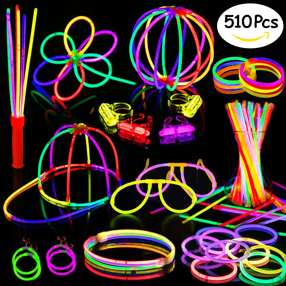 Glow Sticks,200 8'' Glow Sticks 510PC Glow Party Supplies Favors Connectors for Glow Caps/Ear Rings/Finger Rings/Necklaces/Bracelets/Flowers/Balls with Glow Divergence Bars