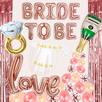 211e45a20a1 Bachelorette Party Decorations Kit Rose Gold Bride to Be Balloons Bridal  Shower Supplies