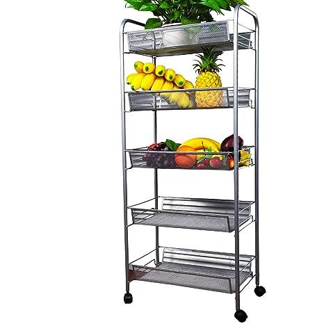 Amazon Com Yimu 5 Tier Mesh Rolling Storage Cart With Basket