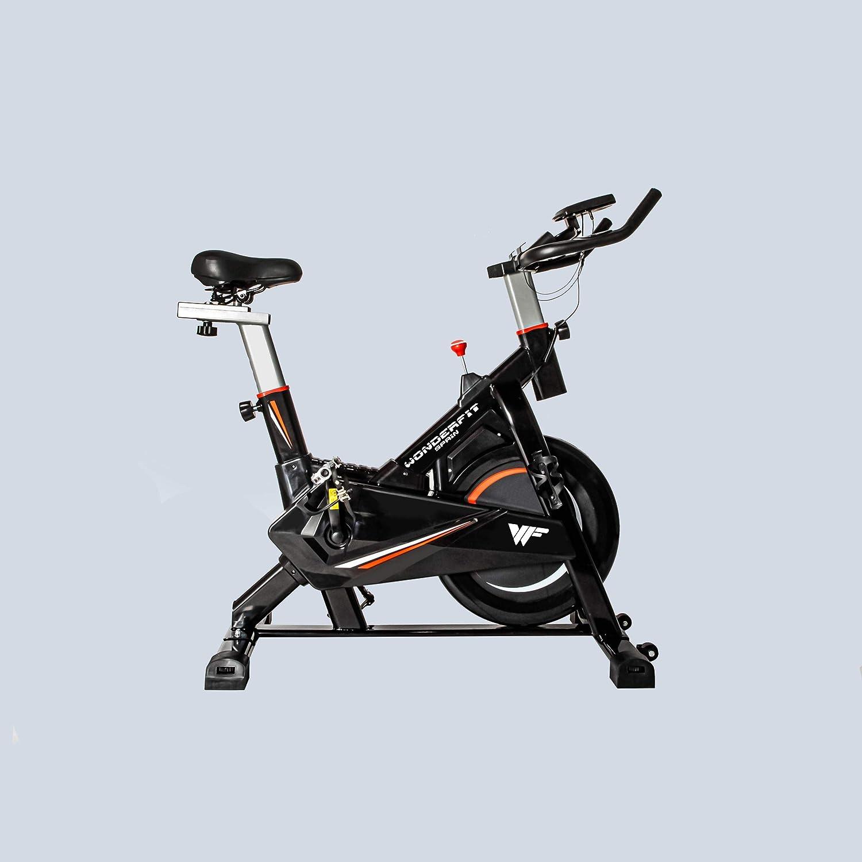 Bicicleta Spinning Estática para Interior Fitness | Ajuste de resistencia sin niveles | Monitor digital y asas de frecuencia de pulsación | Cinco niveles de ajuste de altura con Rueda de Inercia