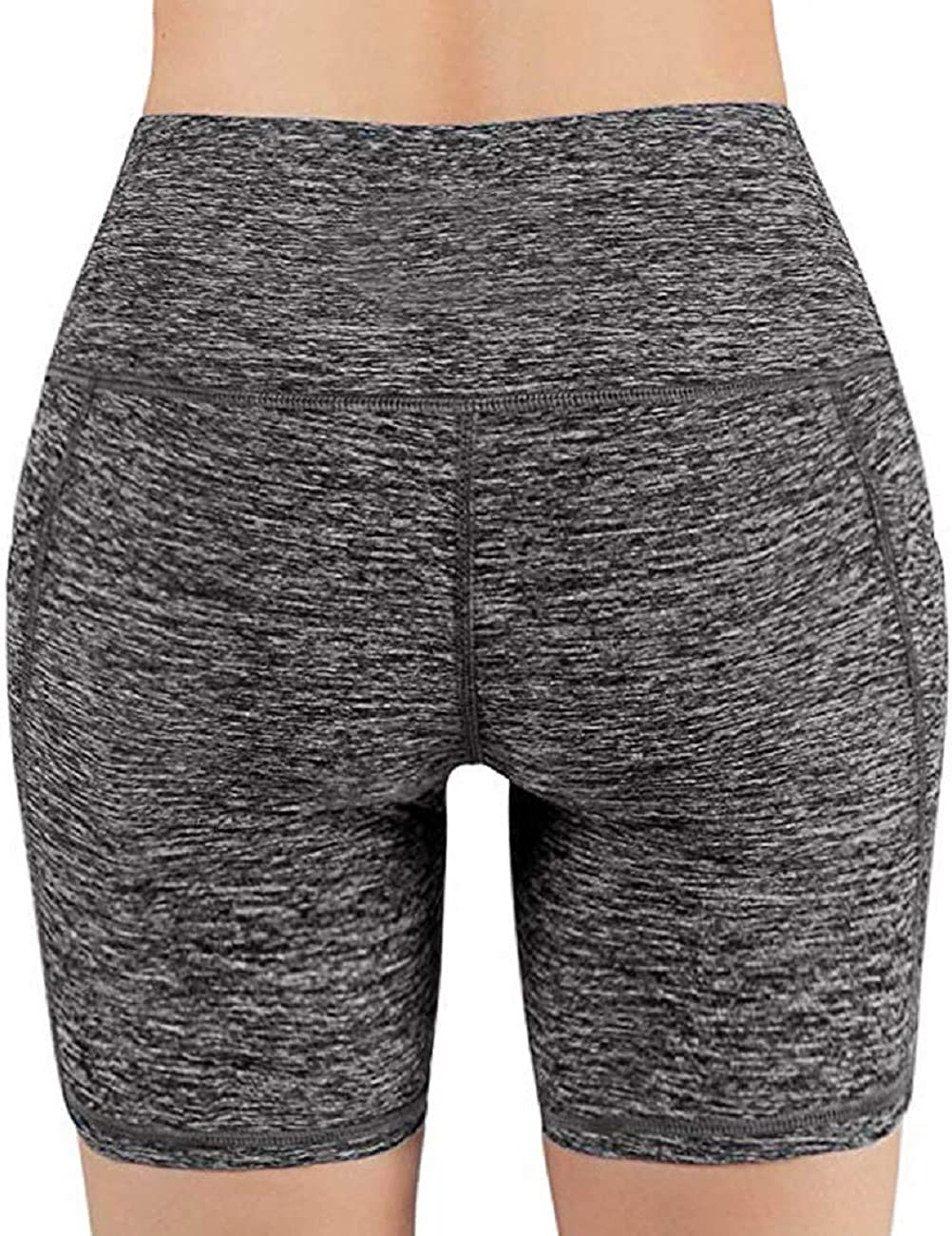 Tsmile Women High Waist Tummy Control Yoga Pocket Shorts Stretchy Quick Dry Training Running Athletic Pants