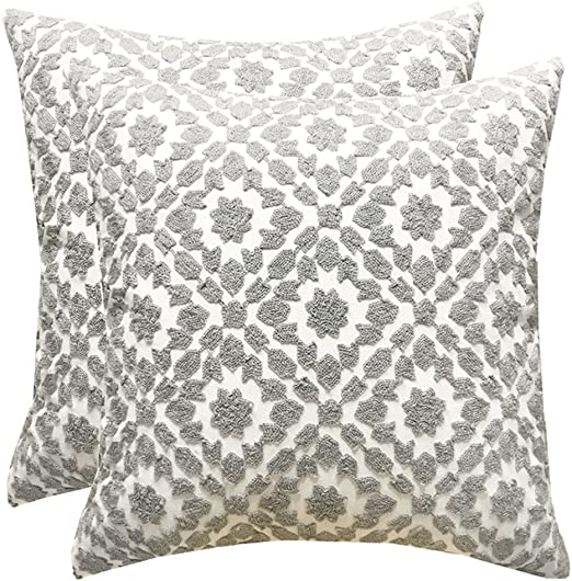 SLOW COW Cotton Embroidery Grey Decorative Throw Pillow Cover 18X18 Inches