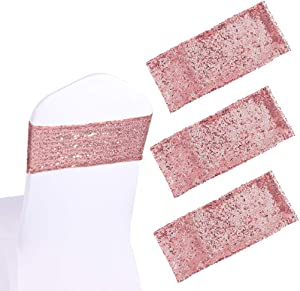 """Cooyeah 50Pcs Sequin Chair Sashes 5.9""""x13.78"""" Stretch Spandex Bands Sparkling Chair Cover Decorations for Wedding Banquet Party Festival Shining Home Decor (Rose Gold)"""